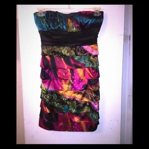 Party dress; multi color/pattern/ sleeveless